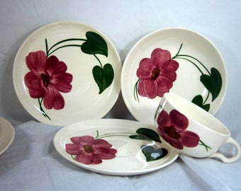 Stetson Pottery / Stetson China / Dinnerware / Replacement Pieces / 1940's / Bowl, Cup and Saucer, Plate / 4 Pieces