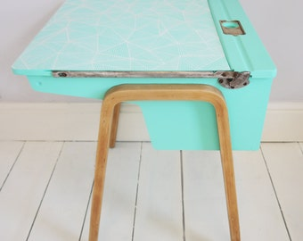 SOLD! Vintage Retro Upcycled Aqua Blue Geometric Child's School Desk