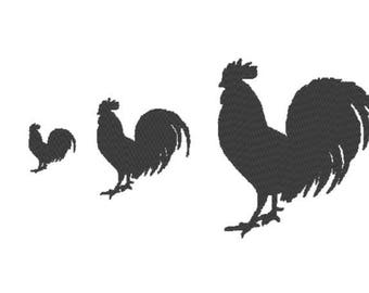 Solid Rooster Embroidery Design File - multiple formats - one color design - 3 sizes - instant download