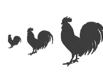 Solide Hahn-Stickerei-Design-Datei - mehrere Formate - eine Farbe Entwurf - 3 Größen - sofortiger download