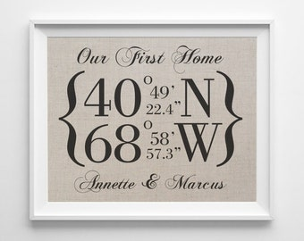 Our First Home | Latitude Longitude Linen Print | GPS Coordinates Sign | Personalized Housewarming Gift | House Warming | Home Decor