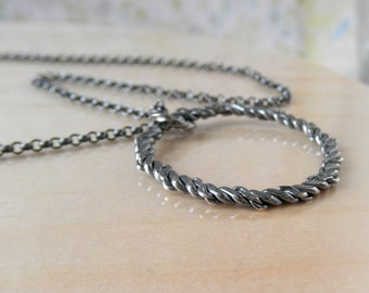 Sterling Silver, Hoop Necklace, Rustic Oxidized Ring, Eternal Circle, Hammered Pendant, Twisted Texture, Silver Necklaces, Round Pendants