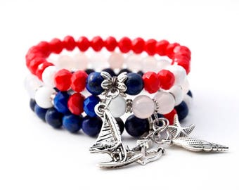 Sailor gemstone stack bracelet set, stretch nautical vacation bracelet, red blue white charm bracelet, summer beach bracelet