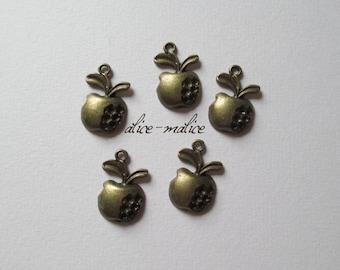 Set of 5 metal Apple charms