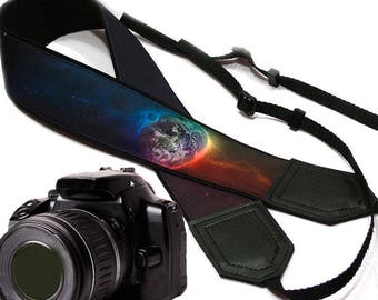 Galaxy camera strap. Cosmos Camera strap.  Space. Planet. SLR/ DSLR Camera Strap. Camera accessories by InTePro