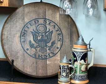 Bourbon Barrel Head/Monogram/personalization-Military/Kentucky bourbon/Christmas Gift/Army/Soldier