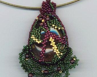 Easter Egg Pendant, Beadwoven Phantom Quartz Necklace, Stylized Green, Garnet Gold Pendant, Egg Shape, Easter Gift - Eggsistential Necklace