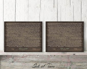 Thank You Gift for PARENTS Set of 2 Rustic Wedding Gift from Bride Groom Canvas Prints Gift Personalized Poem from Daughter, Son Faux Wood