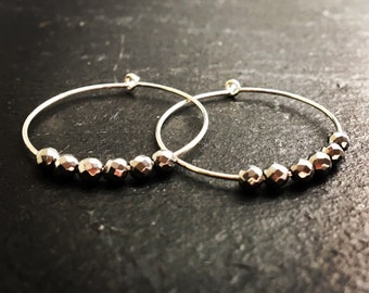 Silver disco ball hoop earrings. Silver hoops with beads. Sparkly silver hoop earrings. Fashion birthday gift for her. Gemstone earrings.
