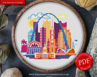 St Louis Cross Stitch Pattern for Instant Download *P082 | Easy Cross Stitch| Counted Cross Stitch|Embroidery Design| City Cross Stitch