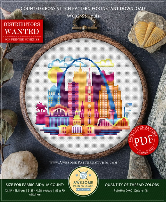 St Louis Cross Stitch Pattern For Instant Download P082 Easy