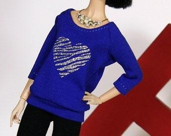 "Doll T-shirt ""Zebra Heart"" - royal blau mit silbernem Herz"