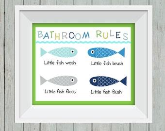 Fish bathroom, kid's bathroom decor, bathroom rules print, under the sea, bathroom wall art, fish wall hanging, wash your hands
