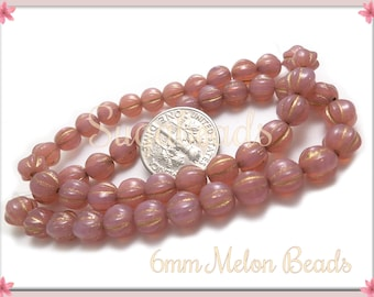 25 Opal Dusty Rose with Gold Czech Glass Melon Beads - Pink Melon Beads with Gold Accent 6mm - CZN47