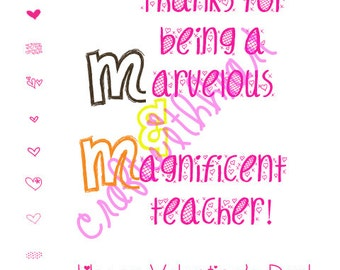 DIGITIAL DOWNLOAD Teacher Valentine, Valentine's day, card, valentine, M&M, Marvelous Teacher