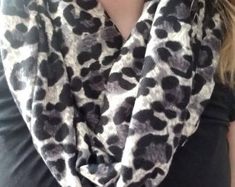 Black and White Leopard Infinity Scarf