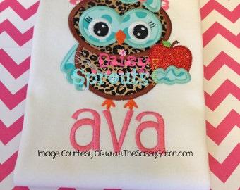 School Girl Owl Machine Applique - Instant Download