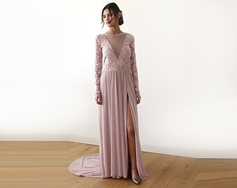 Sheer party dress, Long sleeves chiffon dress, Dusty rose dress with train, pattern style gown, 1186