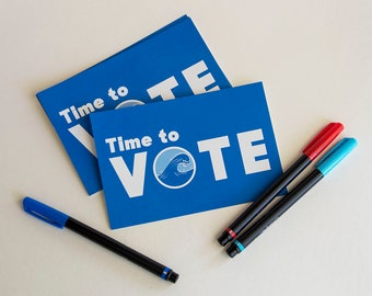 Postcards to Voters Blue Wave Time to Vote Resistance Fist - Set of 60