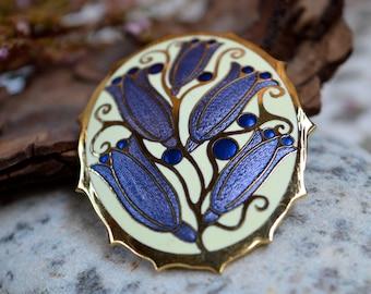 Vintage Brooch, Cloisonne Brooch, Floral Brooch, Enamel Brooch, Flower Brooch, Brooch Vintage, Brooch, Vintage Jewelry, Gifts for Her