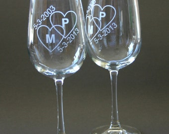 Custom Etched Wine Glasses Set of 2 Engraved Wine Glasses Weddings