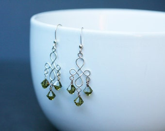 Olive-Green Swarovski Crystal and Sterling-Silver Chandelier Earrings