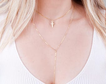 Gold Cross Choker Necklace, Layering Choker, Bridesmaid Necklace, Delicate Cross Choker, Small Cross Collar Necklace, Christian Necklace