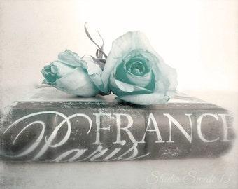 """Romantic Cottage Photography, Paris Decor, Shabby Cottage Chic, Aqua Rose Still Life, Paris France Book Print, Book Art- """"Paris Romantic"""""""