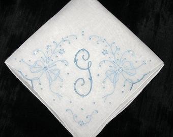 Wedding Handkerchief for Bride - Hanky for my daughter - Wedding Day Gift - Handkerchiefs Initial