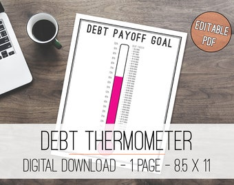 Debt Thermometer Tracker Printable, Debt Tracker, Debt Printable