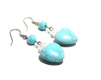 Turquoise and Rose Quartz Stone Earrings, Women, Teen, Heart Shape, Ready To Ship,