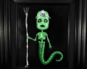 Original 8X10 Doll Face Octo-Skeleton Warrior Painting with Frame