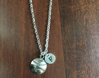 Softball initial necklace,  softball charm necklace, sports charm necklace, softball jewelry, baseball mom necklace