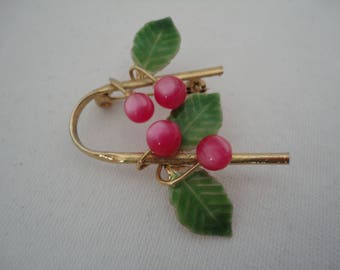 Vintage Shades of Pink Thermoset Lucite, Green Enamel and Goldtone Apples/Fruit Brooch/Pin - 1960's