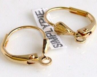 Short Gold Leverbacks, Brass Earwires, Earring 10 Findings