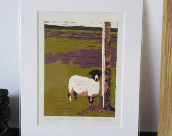 Sheep on Waskerley Moor – Limited Edition Reduction Lino Print
