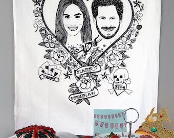 Royal Wedding - fun illustrated Harry & Meghan tea towel