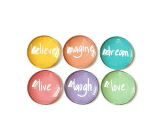 Fridge Magnets + Tin / Inspirational Magnets / Glass Magnets / Fridge Magnets / Refrigerator Magnets / Decorative Magnets / Quote Magnets