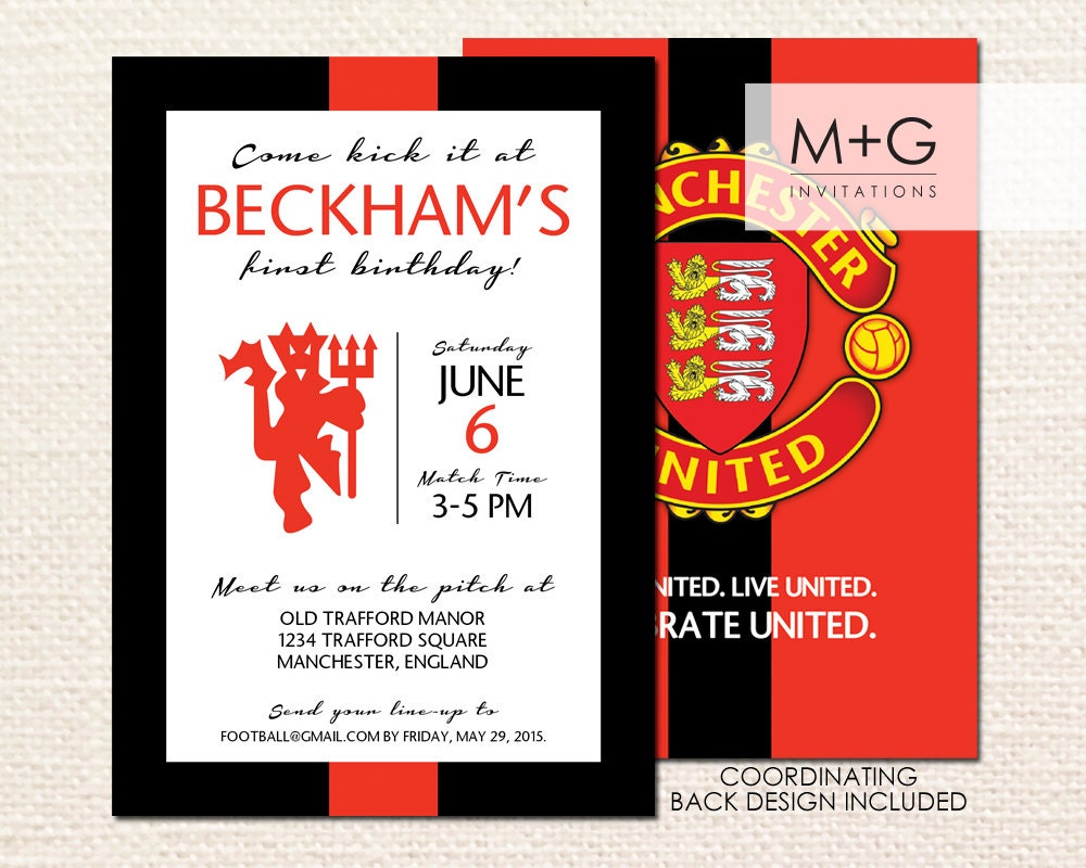 Manchester united fc birthday party invitation digital zoom stopboris Image collections