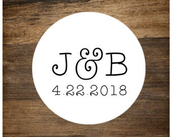 "Wedding stickers, set of 63 personalized labels , 1"" round, custom initials and date, bridal shower, party favor, Matte White or Kraft Brown"