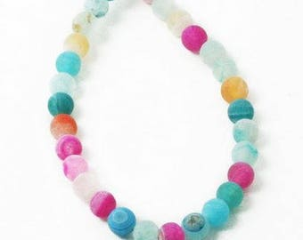 Rainbow Stone Beads - 62 pieces - 6mm - Multi coloured - Bead Supplies