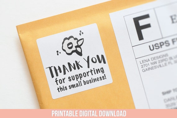 Thank you sticker printable stickers small business