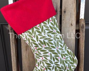 Farmhouse Stocking, Mistletoe Christmas Stocking, Christmas Stocking, Personalized Stocking, Green Stocking, Rustic Stocking, Farmhouse