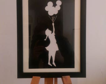 A4 banksy style spray paint art - balloon girl