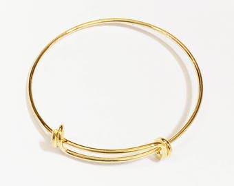 Bulk 10 pcs Adjustable wire bangle, Gold plated brass bangle, bulk wire bangle 7 to 9 inch