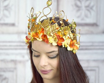 Woodland Goddess Headpiece, Orange, Ivory and Gold, Floral Headdress, Fairy Headpiece, Elven Headdress, Floral Crown, Flower Crown, Autumn