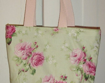Pink  or Green Shabby Chic Retro  Romantic Roses Floral Purse Tote BAG or Diaperbag