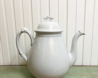 Antique  Ironstone  Coffee Pot, Maddock & Co. Ironstone, Vintage White Ironstone, Farmhouse Style