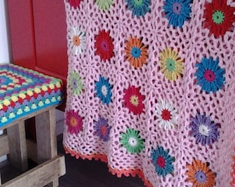Pattern crochet flower blanket