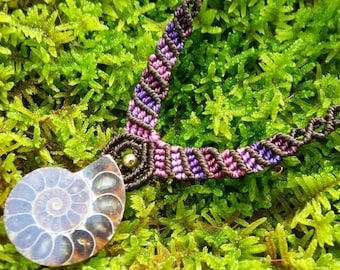 Purple shade Ammonite Fossil Macrame Necklace with a Titanium Bead